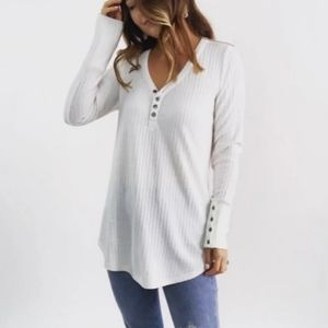 Chaser White Waffle Knit Thermal Button Sweater XL